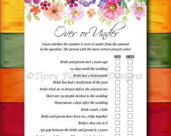 Bridal Shower Game, Over or Under, Floral Bridal Shower, Shabby Chic, Flowers, Watercolors, Printable, Instant Download T319I