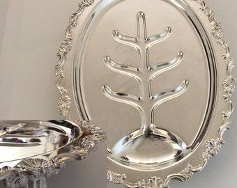Vintage Oval Turkey Platter ,18 Inch Sheffield Reproduction, Silverplate Sphinx Mark, Tree Well, Turkey Legs, Scallop, Shell, Scroll Boarder