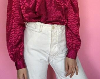 80s Fushcia Subtle Leopard Print Satin-like Bow Blouse size S/M