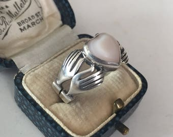 Vintage silver Hand ring ,unusual design