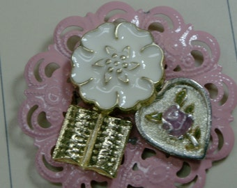 Changeable Badge Cover - Pink Rose