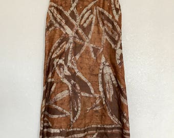 Brown patterned midi dress