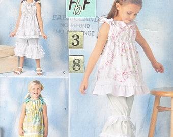 Girl's Summer Top, Ruffled Capri Pants Sewing Pattern/ Simplicity 1628 tied shoulder Top, Dress, Capris, UnCut/ 3 4 5 6 7 8 year