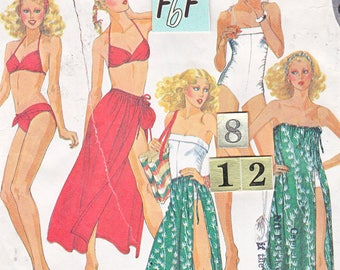 1970's Women's Tied Halter Bikini SwimSuit Sewing Pattern/ McCall's 6615 Gathered sides Bathing Suit, Cover Up, UnCut/ Size 8 10 12