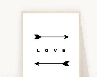 Arrow Wall Art, Love Print, Love Art, Two Feather Arrows, Black and White Arrow, Love Print, Digital Download