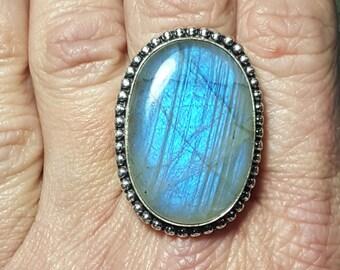 Blue Labradorite Statement Ring ~ Size 8.5