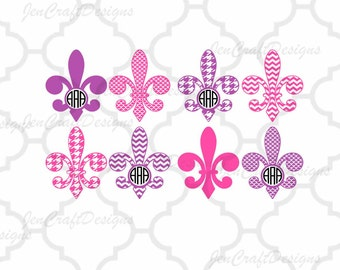 Fleur De Lis Monogram Frames Svg cutting file, Fluer de lis SVG, DXF, Cricut Design Space, Silhouette Studio,Digital Cut Files bundle