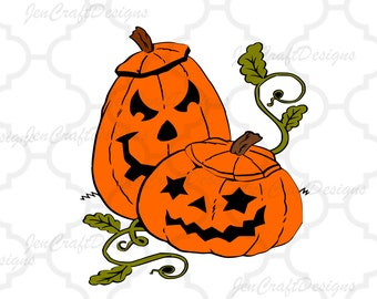 Pumpkin, Jack 'O' Lantern SVG, DXF, EPS, Png, layered Halloween cutting files for use with Silhouette  & Cricut. Print then cut file.