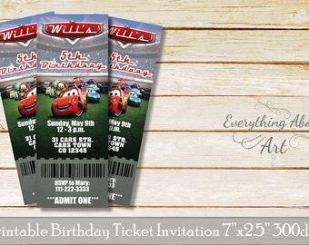 Cars ticket invitation, Cars movie birthday invitation, Cars Mcqueen birthday, Cars birthday party, Cars invite, Cars movie party theme