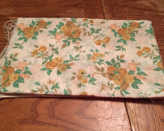 Vintage Linen Flowered Fabric