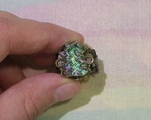 Grunge Ring, Bismuth Ring, Goth Ring, Gothic Ring, Crystal Ring, Green Bismuth Ring