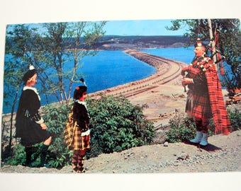 Road to the Isles Causeway New Brunswick Postcard 1961 /  Cape Breton Island / Bagpipes / Vintage Pipers Postcard