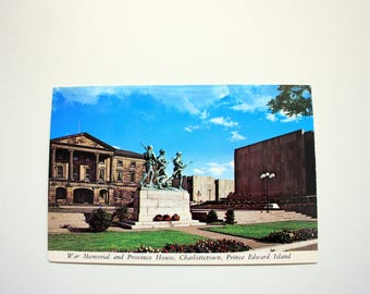 Charlottetown War Memorial and Province House  / Prince Edward Island Postcard / Plastichrome