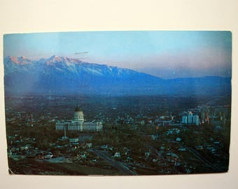 Salt Lake City Utah Postcard with stamp dated 1960, Night Postcard, Salt Lake City Souvenir, Vintage Utah, Vintage Salt Lake City Postcard