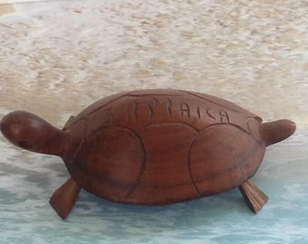 Hand Carved Wooden Turtle from Jamaica~Probably Souvenir~Aquatic Animal~Turtles~VintageCarving~Fantastic Condition~Tortoise~Nice Wood Grain~