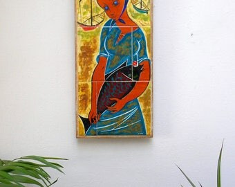 Vintage ART CERAMIC Tiles Panel, Original Hand Painted Wall Art Décor, Fisherwomen - Woman with Fish, Fat Lava Glazed Ceramics Wall Hanging