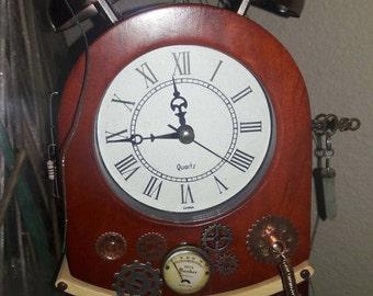 Steampunk, Working, Pendulum, Clock, Wood, Gift for him