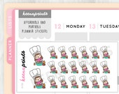 A136 | COOKING KEENACHI Emoticon Repositionable Stickers Perfect for Erin Condren Life Planner, Filofax, Plum Paper or scrapbooking