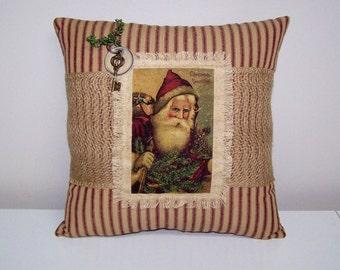 CHRISTMAS Vintage Santa Burlap Pillow - FATHER CHRISTMAS