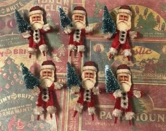 Six (6) Vintage Style Christmas Santa Chenille Ornaments - Retro - Primitive