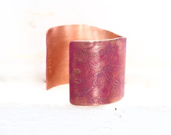 Perfect Copper Wedding Anniversary Gift, Unique Copper Jewelry, Personalized 7th Anniversary Jewelry, Copper Chunky Cuff, Boho Chunky Cuff