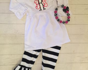 LOOK! CLEARANCED 85% OFF Toddler girls ruffled pants and top, girls monogrammed ruffled pants and top