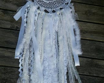 Large Shabby chic all white doily dream catcher lace ribbon glitter feathers rhinestones OOAK 12 inch hoop nursery decor wedding decor