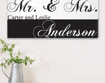 Personalized Couples Canvas Print Wall Art Decor - Newlyweds - Mr and Mrs - Wall Hangings - Wedding Gifts