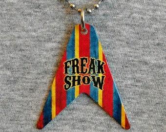 Metal Necklace FREAK SHOW circus carnival sideshow freaks weird human oddities V Guitar body shape pendant charm shaped