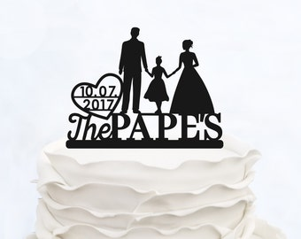 Family Cake Topper_Bride & Groom holding baby boy with little girl_Custom wedding Cake Topper silhouette with date last name and children