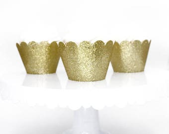Glitter Gold Cupcake Wrappers, Standard Size Cupcake Wrappers, Custom Color Cupcake Wrappers
