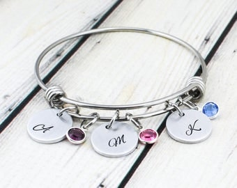 Personalized Initial Birthstone Bracelet - Custom Initial Bracelet - Mom Birthstone Bracelet - Mother's Day Gift - Personalized Jewelry