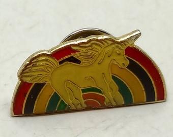 Vintage Unicorn on Rainbow Tie Tac/push pin
