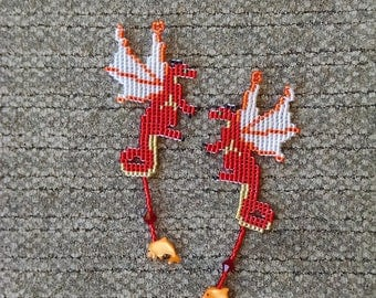 Beaded Dragon Earrings, Red and Gold Fairy Dragon Earrings with Crystal and Dolphin Shell Treasure