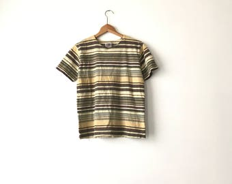 EARTHY STRIPED SHIRT // 90s // Womens Small  // Striped T-Shirt // Striped Shirt // Womens Striped // Striped T-Shirt // Striped // 90s