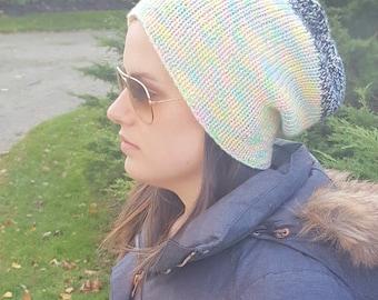 Knit Beanie, Slouchy Knit Hat, Slouchy Beanie, Slouchy Hat, Snowboard Hat, Boyfriend Hat, Rainbow Hat, Tight Knit Hat, Gift for Her