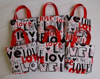 Set of 6 Valentine's Day Fabric Gift Bags/ Party Favor Bags/ Valentine Goody Bags- Love Word Collage