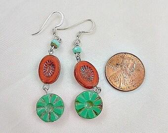 Green Turquoise Coral Melon  Czech Glass Beaded Dangle Earrings