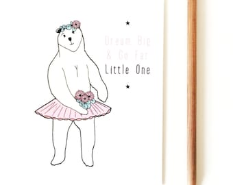 Postcard + envelope - illustration - child - polar bear - birthday - Christmas card - dancer - graphic