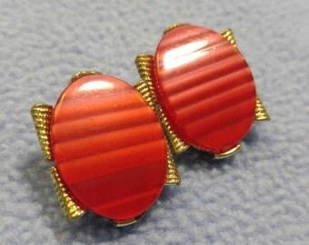 Vintage Shimmering Red Glass Clip Earrings~ Goldtone