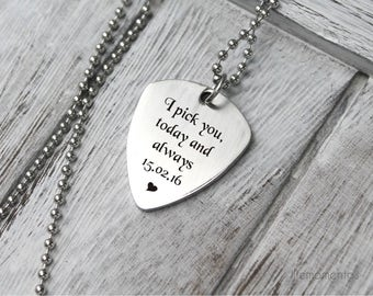 Engraved guitar pick necklace, custom initials, gift for him, personalized guitar picks, i pick you today and always