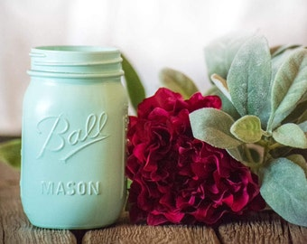 Mint Centerpiece Mason Jar Wedding Decor Baby Shower Modern Farmhouse Painted