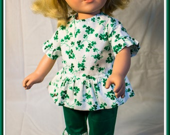 "American made Girl Doll Clothes, Green Shamrock Capri Set for St Patrick's Day; American Girl, Madame Alexander n other 18"" Dolls"