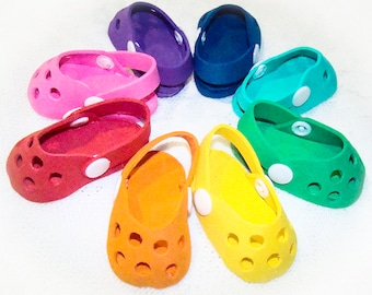 """Crocs Style Shoes for American Girl Doll, American Boy Doll or Most 18"""" Style Doll's Outfits, Birthday Party Favors, Doll Accessories, Shoes"""