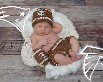 Football Team ,Crochet baby boy Hat /shorts/ball- Knit  Baby Football outfit- crochet baby shower gift - newborn photography prop. newborn