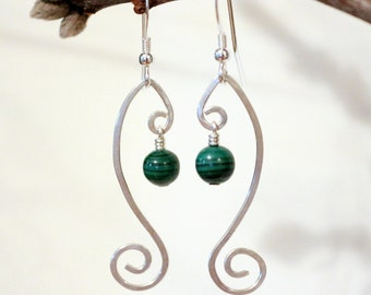 Genuine Malachite Earrings, Sterling Silver Earrings, Malachite Earrings, Silver Wire Earrings, Silver Swirl Earrings, Silver Wave Earrings