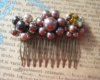 Vintage Hair Comb Upcycled Recycled Repurposed Jewelry Plum Eggplant Purple Wedding Bridesmaids Gift for Her Eco Friendly ooak reclaimed /26