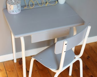 Desk and Chair of schoolboy vintage gray all in white for child boy or girl