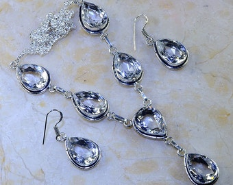"Sparkling White Topaz Princess Style Necklace and Earrings Set - Necklace is 18 1/2"" long"