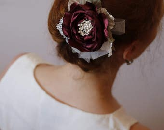 Marsala Ivory hair flower,Bridal hair flower,Marsala rose hair clip,Bridesmaids Hair flower,Burgundy Maroon hair rose,Prom Hair Flower